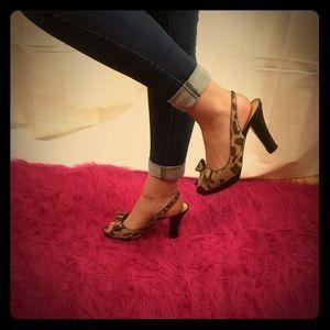 Kate Spade Open Toe Animal Print Heels Size 8.5